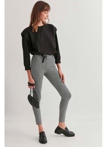 Vitrin Kazayağı Desenli Dar Pantolon Siyah